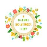 Nature Scavenger Hunt. Kids Game Poster royalty free illustration
