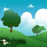 Nature scene. Cartoon style nature background vector Royalty Free Stock Photo