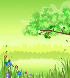 Nature Scene. Illustration of a green nature background scene with field, grass, flower, and tree Stock Photo