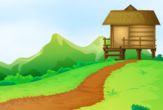Nature scene with bungalow on the hill Royalty Free Stock Photo