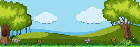Nature scene with butterflies in the field. Illustration Stock Image