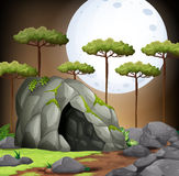 Nature scene of cave on fullmoon night Stock Photography