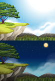 Nature scene of cliff at night and day Stock Image
