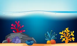 Nature scene with coral reef underwater. Illustration Stock Photos