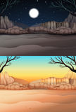 Nature scene with desert at day and night Stock Photography