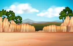Nature scene with desert field and canyons Royalty Free Stock Photos