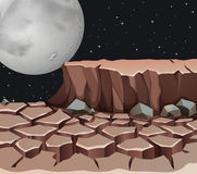 Nature scene with dryland on fullmoon night Royalty Free Stock Images