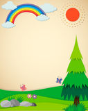 Nature scene with field and rainbow. Illustration Stock Photo