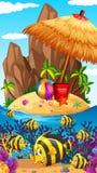Nature scene with fish and island. Illustration Stock Photo