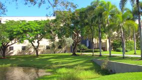 Nature scene with fountains and buildings. Motion footage of FIU Miami 4k stock video