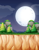 Nature scene with fullmoon and cliff Stock Photography