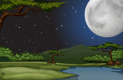 Nature scene on fullmoon night Royalty Free Stock Photography