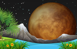 Nature scene with fullmoon at night Stock Images