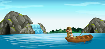 Nature scene with girl in rowboat Royalty Free Stock Images