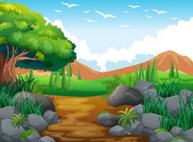 Nature scene with hills and trail. Illustration Royalty Free Stock Images