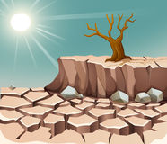 Nature scene with hot sun and dry land. Illustration Stock Photos