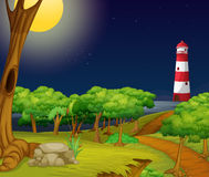 Nature scene with lighthouse at night Royalty Free Stock Photos