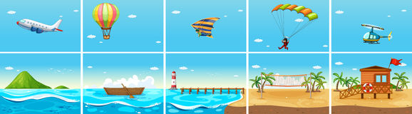 Nature scene with ocean and beach. Illustration Stock Image