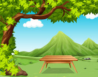 Nature scene with picnic table in the park Stock Photo