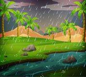 Nature scene with rainy day in the field. Illustration Royalty Free Stock Photography