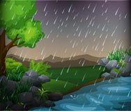 Nature scene with rainy day in the park. Illustration Stock Images