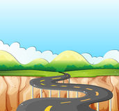 Nature scene with road and field. Illustration Royalty Free Stock Photo