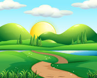 Nature scene with road and field. Illustration Royalty Free Stock Photography