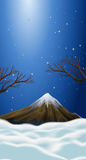 Nature scene with snow on mountain top. Illustration Stock Photography