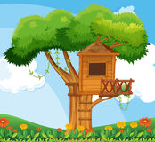 Nature scene with treehouse in the garden Royalty Free Stock Photography