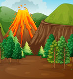 Nature scene with volcano eruption Stock Image