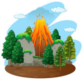 Nature scene with volcano eruption Stock Photo