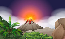 Nature scene with volcano eruption. Illustration Royalty Free Stock Photo