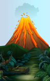 Nature scene with volcano eruption. Illustration Royalty Free Stock Photography