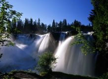 Nature scenery of waterfall. Beautiful nature scenery of waterfall in sunshine stock photos