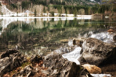 Nature Scenes, Langbathsee in Austria. Lake and mountains in wintertime at the wonderful Vorderer Langbathsee in Salzkammergut, Austria Royalty Free Stock Photo