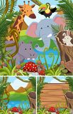 Nature scenes with many animals in forest. Illustration Stock Image