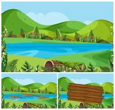 Nature scenes with mountains and river. Illustration Stock Photography