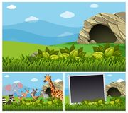 Nature scenes with wild animals by the cave. Illustration Stock Image