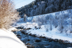 Nature Scenes winter landscape river. Royalty Free Stock Image