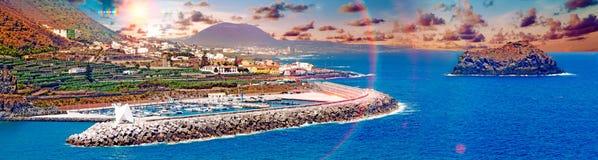 Tenerife island scenery.Ocean and beautiful stone,Garachico beac Stock Photography