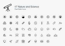 47 Nature and Science Pixel Perfect Icons (line style) Stock Photography