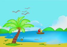 Nature. The sea was destroyed by human hands vector illustration