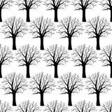 Nature seamless pattern background with tree silhouettes Royalty Free Stock Photos