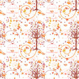 Nature seamless pattern with birds Royalty Free Stock Photo