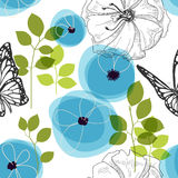 Nature seamless pattern. Blue flowers and butterfly over white, nature seamless pattern stock illustration