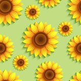 Nature seamless pattern with 3d sunflowers Stock Illustration