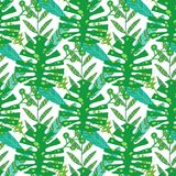 Nature seamless pattern. Hand drawn abstract tropical summer background palm, monstera leaves in silhouette, line art vector illustration