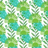 Nature seamless pattern. Hand drawn abstract tropical summer background palm, monstera leaves in silhouette, line art royalty free illustration
