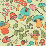 Nature seamless pattern with mushroom, ladybird, snail, flower a Royalty Free Stock Images