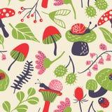 Nature seamless pattern with mushroom, ladybird, snail, flower a Stock Photos